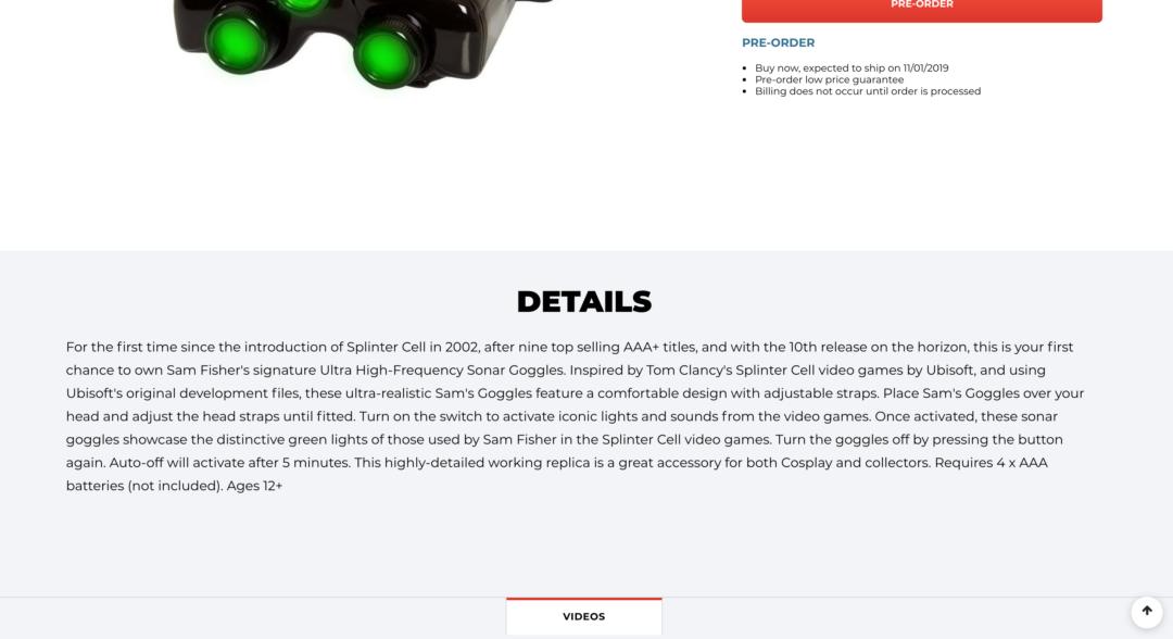 Tom de Clancy Splinter Cell Lunettes replica-Gamestop-NOUVEAU!