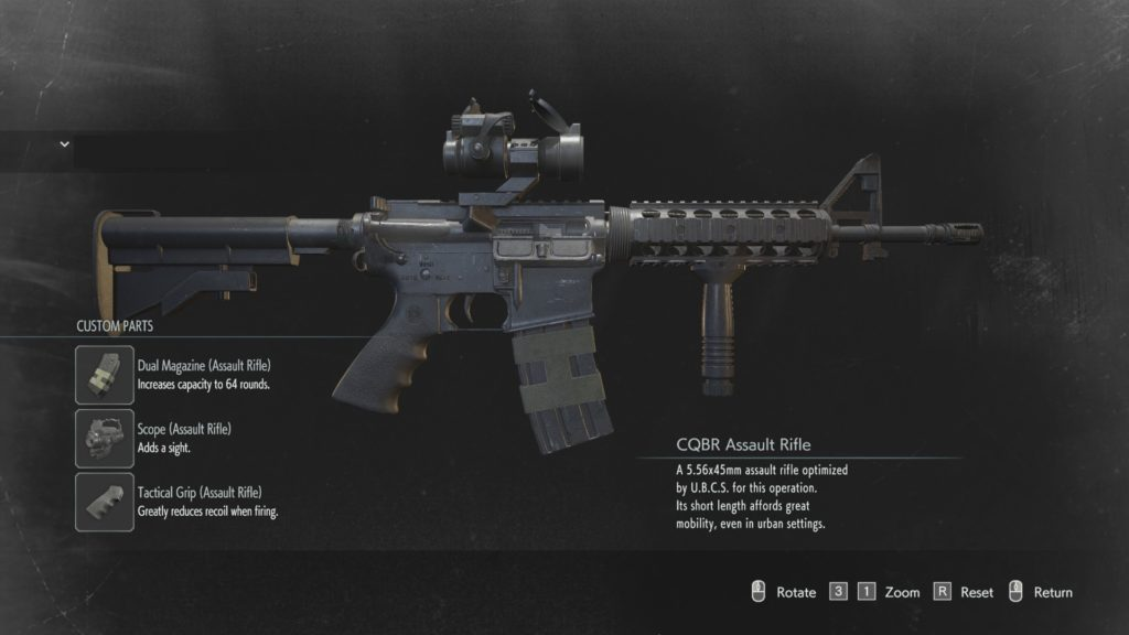 assault rifle carlos Resident Evil 3 weapon modification locations guide upgrades