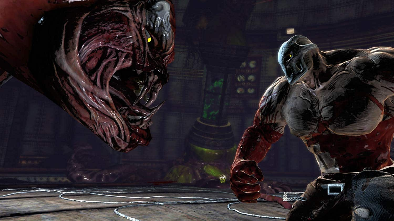 Splatterhouse 2010 Bandai Namco is enjoyable grindhouse gore and violence with heart and enjoyable characters like Terror Mask