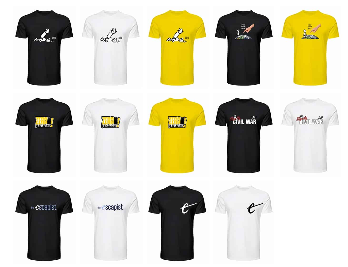 Escapist T-shirts at Teespring via YouTube