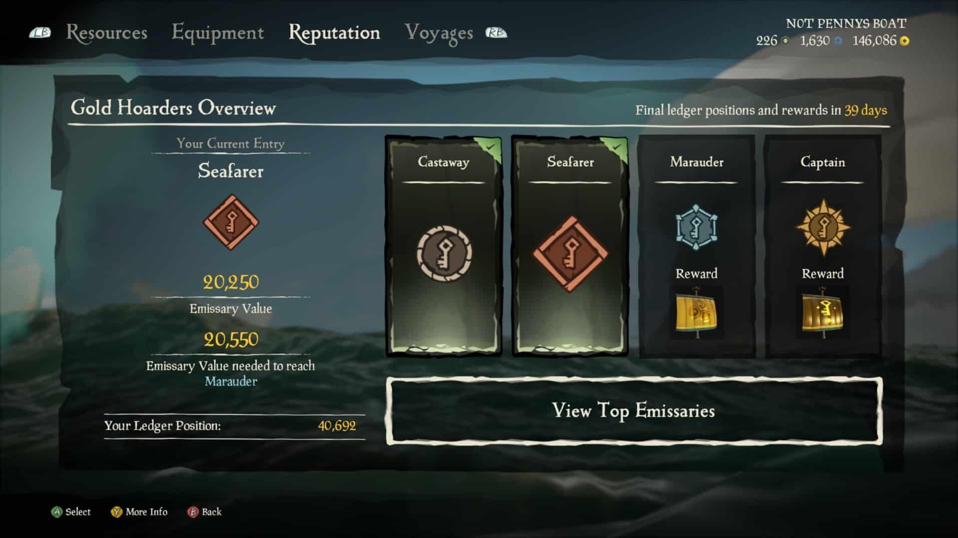 Sea of Thieves Emissary rewards bonuses gold hoarders