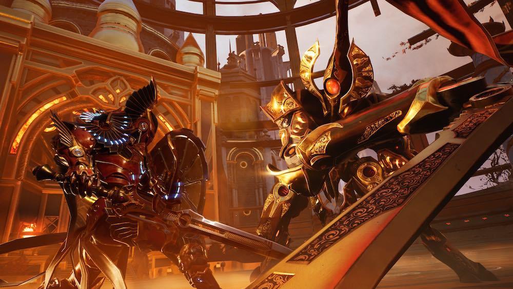 Godfall gameplay mechanics Valorplates creative director Keith Lee Counterplay Games Gearbox screenshots