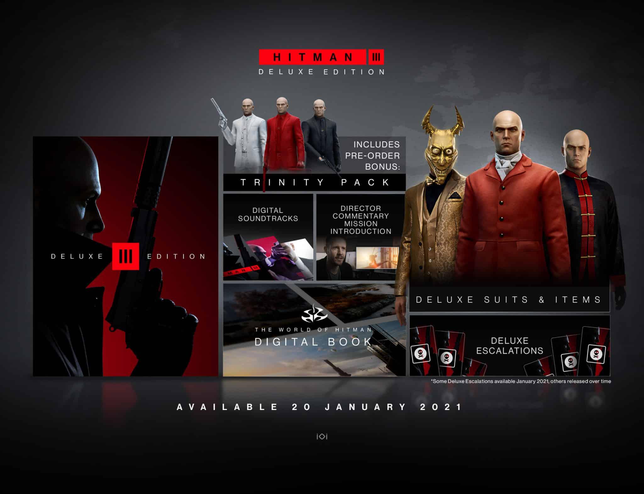 Hitman 3 Deluxe Edition Deluxe Pack contents IO Interactive