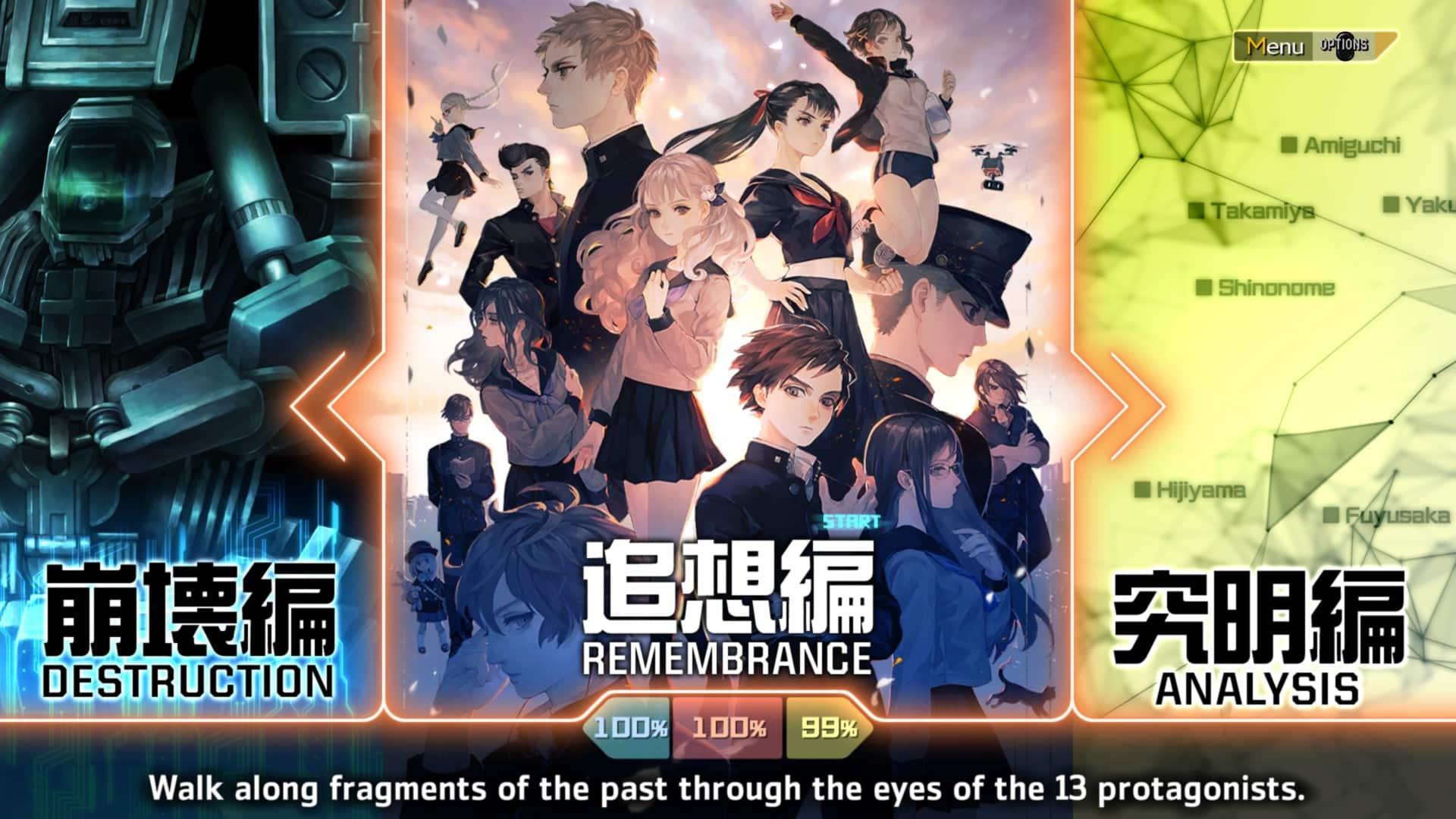 13 Sentinels: Aegis Rim review Vanillaware Atlus RTS real-time strategy visual novel science fiction Main Menu