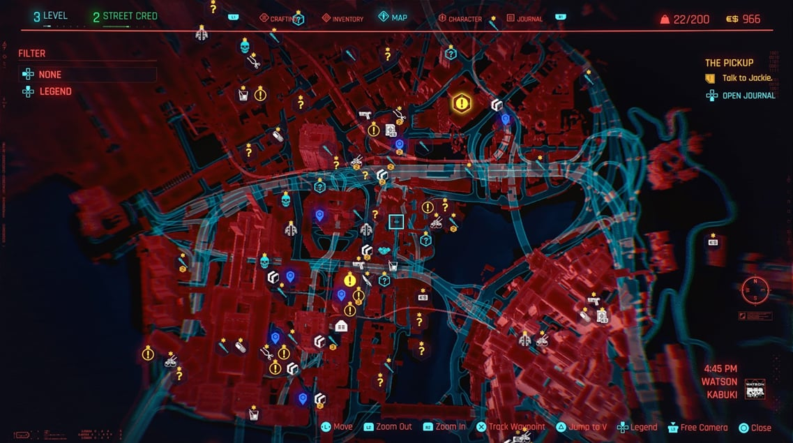 Cyberpunk 2077 map early game Act 1 crowded oppressive atmosphere CDPR CD Projekt Red