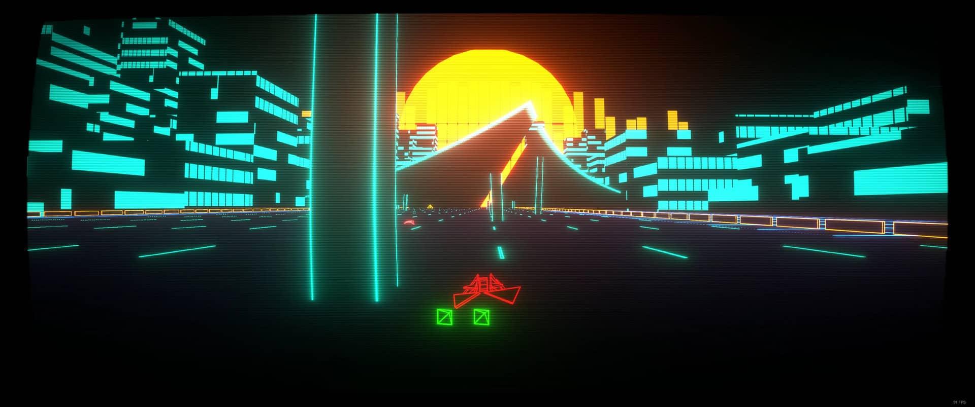 Vecter Taranasus cyberpunk synthwave wireframe retro futuristic racer
