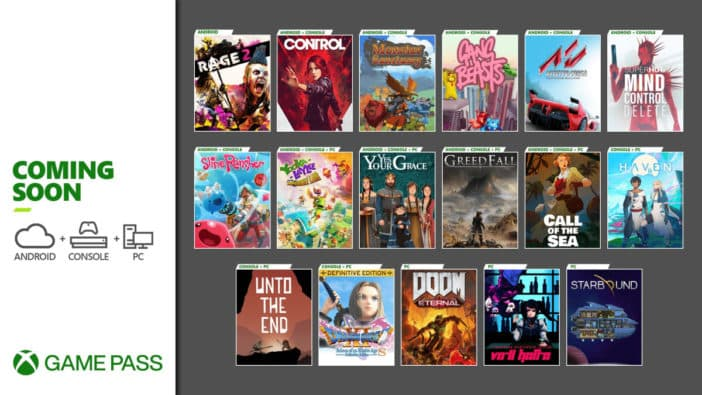 Xbox Game Pass December Dragon Quest XI S Doom Eternal Control Call of the Sea