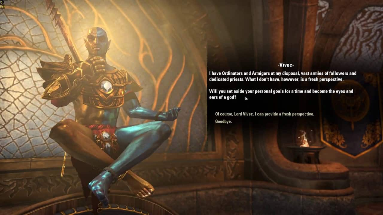 The Elder Scrolls Online Vivec voiceover voice acting video game text voiceless preferred