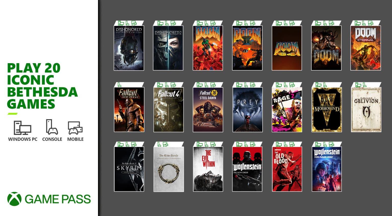 Bethesda, Doom, Microsoft, Xbox Game Pass, Dishonored, Rage, Prey, The Elder Scrolls, Wolfenstein