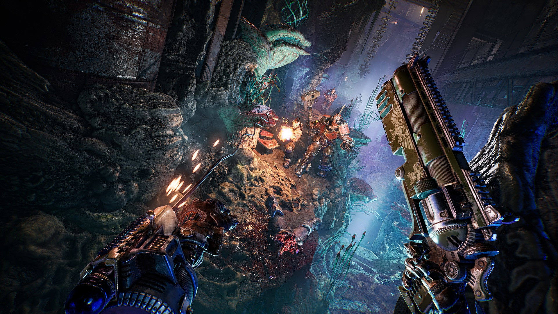Necromunda: Hired Gun interview Streum On Studio Victor Mercier game producer Warhammer 40,000 40K brutal frenetic first-person shooter fast FPS with cyber mastiff Focus Home Interactive