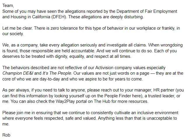 Rob Kostich president of Activision statement