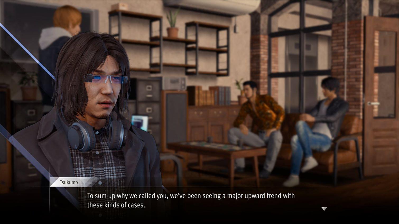 Lost Judgment talking heads bizarre jarring with the dead eye stare from RGG Studio Sega Ryu Ga Gotoku