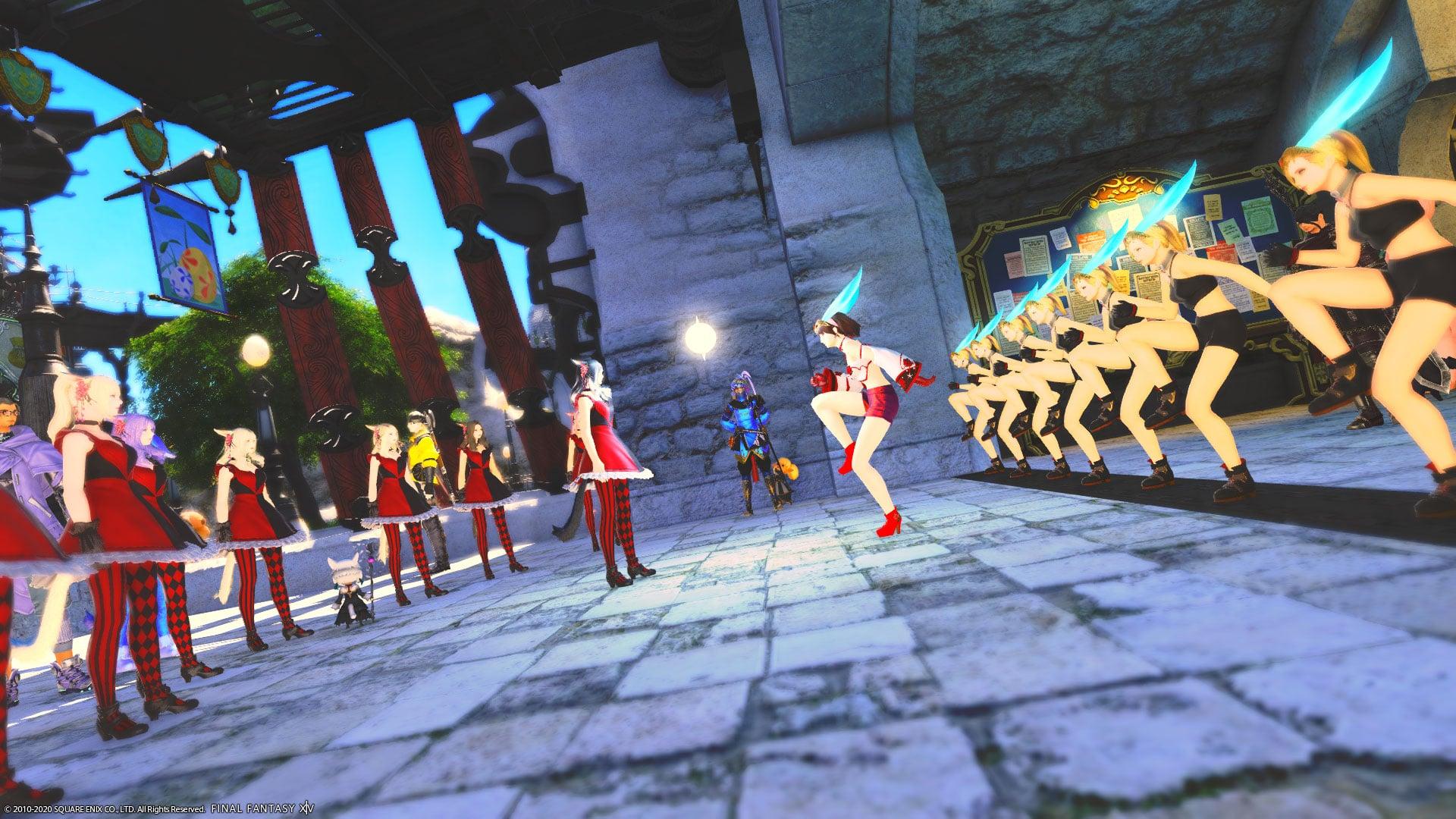 Final Fantasy XIV Limsa Lomina party community singing song music dance horny costume